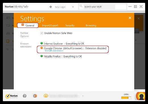 Wiederherstellen der Norton Identity Safe-Toolbar im Browser
