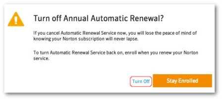 Turn Off Norton Automatic/Annual Renewal