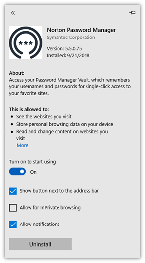 Compatibility of Norton Password Manager with Microsoft Edge browser