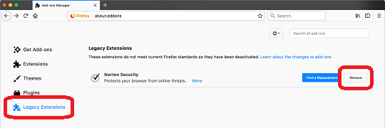 Firefox Legacy extentions: remove