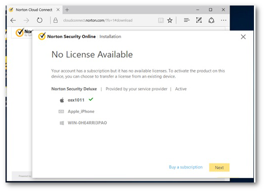 Install Norton from your service provider