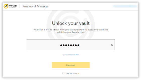 Open vault from the Norton Toolbar
