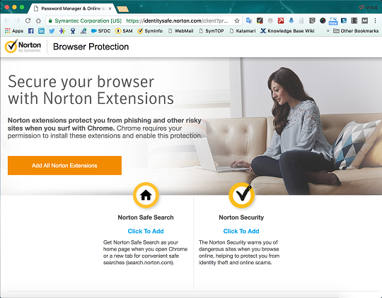 Google Chrome add all norton extentions