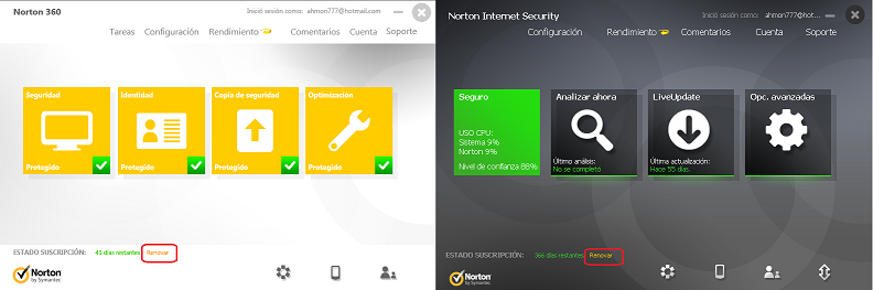 Norton 360/Norton Internet Security Renewal
